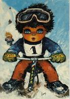 Illustrateur Lamy Carte Postale Genre Poulbot éditions Paris Montmartre Ski Bob ALPYR Postée De Troyes Gare En 1975 LAMY - Autres Illustrateurs