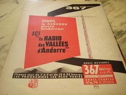 ANCIENNE PUBLICITE RADIO VALLEES D ANDORRE 1960 - Pubblicitari