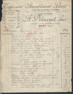 FACTURE DE 1922 A DELACOURT TAPISSERIE LOCATION MEUBLES & PIANOS À BRUNOY : - France