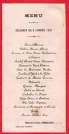 -- NERONDES Ou DUN Sur AURON (Cher)  -MENU Du 8 Janvier 1907 - Hôtel De La Poste - Thomas-Jovy -- - Menus
