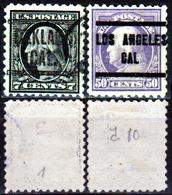 Stati-Uniti-Precancel-0034 - California - Due Valori Dentellati 10, Emessi Nel 1917 - Senza Difetti Occulti. - Stati Uniti