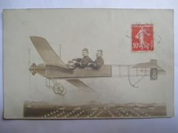 AVIATION - Carte-Photo Montage - 1912 - Avion Et Pilotes -  TBE - Aviación