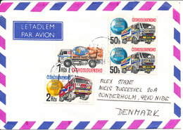 Czechoslovakia Air Mail Cover Sent To Denmark 19-2-190 Topic Stamps (TRUCKS) - Airmail