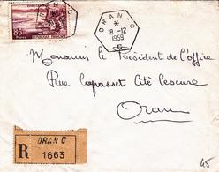 Algérie LR Timbre à Date Type D6 Oran C 18/12/59 - Algérie (1924-1962)