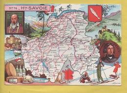 2099 ** HAUTE SAVOIE N°74 ** MULTIVUES *Blason* Carte Signée J.R.PINCHON *carte Géographique, Blondel 1945 (recto-verso) - Cartes Géographiques