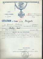 MILITARIA ARMÉE 7 DvInf 40 BRIGADE LE CITATION À L ORDRE BRIGADE GÉNÉRAL DEBENEY 238e A AUBIN PAUL - 1939-45