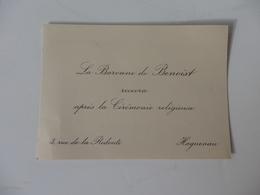 Faire-Part De Mariage La Baronne De Benoist 3, Rue De La Redoute à Haguenau (67). - Boda