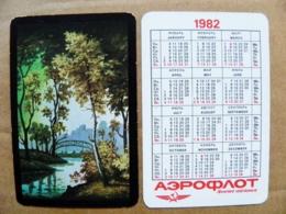 Small Calendar 1982 Aeroflot Soviet Airlines Nature Landscape Trees Art Painting Bridge - Calendriers