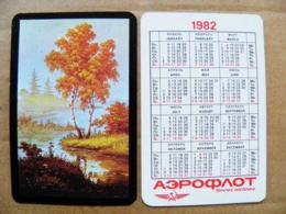 Small Calendar 1982 Aeroflot Soviet Airlines Nature Landscape Trees Art Painting  River - Calendriers