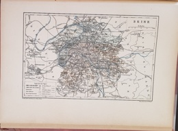 CARTE GEOGRAPHIQUE ANCIENNE: FRANCE: SEINE (75) (garantie Authentique. Epoque 19 ème Siècle) - Carte Geographique