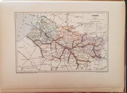 CARTE GEOGRAPHIQUE ANCIENNE: FRANCE: SOMME (80) (garantie Authentique. Epoque 19 ème Siècle) - Carte Geographique
