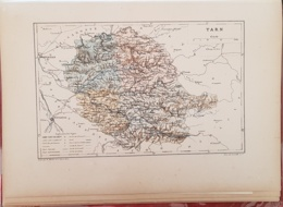 CARTE GEOGRAPHIQUE ANCIENNE: FRANCE: TARN (81) (garantie Authentique. Epoque 19 ème Siècle) - Cartes Géographiques