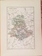 CARTE GEOGRAPHIQUE ANCIENNE: FRANCE: HAUTE VIENNE (87) (garantie Authentique. Epoque 19 ème Siècle) - Cartes Géographiques