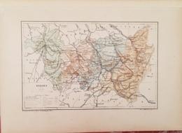 CARTE GEOGRAPHIQUE ANCIENNE: FRANCE: VOSGES (88) (garantie Authentique. Epoque 19 ème Siècle) - Cartes Géographiques