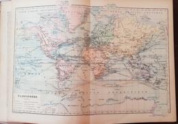 CARTE GEOGRAPHIQUE ANCIENNE: PLANISPHERE (garantie Authentique. Epoque 19 ème Siècle) - Cartes Géographiques