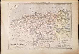 CARTE GEOGRAPHIQUE ANCIENNE: ALGERIE Et TUNISIE (garantie Authentique. Epoque 19 ème Siècle) - Cartes Géographiques