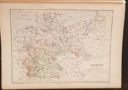 CARTE GEOGRAPHIQUE ANCIENNE: ALLEMAGNE (garantie Authentique. Epoque 19 ème Siècle) - Cartes Géographiques