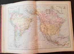 CARTE GEOGRAPHIQUE ANCIENNE: AMERIQUE DU SUD, AMERIQUE DU NORD (garantie Authentique. Epoque 19 ème Siècle) - Cartes Géographiques