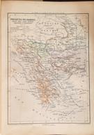 CARTE GEOGRAPHIQUE ANCIENNE: PRESQU'ILES DES BALKANS Turquie,grece, Etc (garantie Authentique. Epoque 19 ème Siècle) - Cartes Géographiques