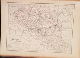CARTE GEOGRAPHIQUE ANCIENNE: BELGIQUE, ET LUXEMBOURG (garantie Authentique. Epoque 19 ème Siècle) - Cartes Géographiques