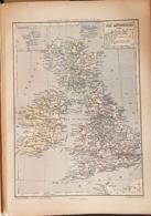 CARTE GEOGRAPHIQUE ANCIENNE: ILES BRITANIQUES (garantie Authentique. Epoque 19 ème Siècle) - Cartes Géographiques