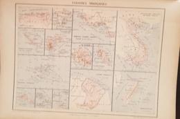 CARTE GEOGRAPHIQUE ANCIENNE: COLONIES FRANCAISES (garantie Authentique. Epoque 19 ème Siècle) - Cartes Géographiques