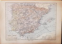 CARTE GEOGRAPHIQUE ANCIENNE: ESPAGNE PORTUGAL (garantie Authentique. Epoque 19 ème Siècle) - Landkarten