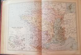CARTE GEOGRAPHIQUE ANCIENNE: FRANCE PHYSIQUE (garantie Authentique. Epoque 19 ème Siècle) - Cartes Géographiques