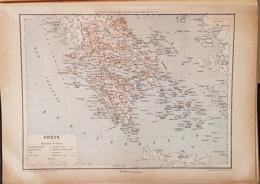 CARTE GEOGRAPHIQUE ANCIENNE: GRECE (garantie Authentique. Epoque 19 ème Siècle) - Cartes Géographiques