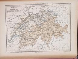 CARTE GEOGRAPHIQUE ANCIENNE: SUISSE (garantie Authentique. Epoque 19 ème Siècle) - Cartes Géographiques