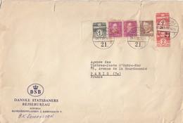 DANMARK COVER. 28 1 59. PERFIN. DSB. DANSKE STATSBANERS REJSEBUREAU TO PARIS         / 6000 - Danemark