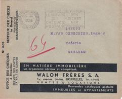 """ENVELOPPE COMPTE CHEQUES POSTAUX - PUBLICITES - """"Comptoir Du Centre"""" - """"Walon Frères S.A."""" - Werbung"""