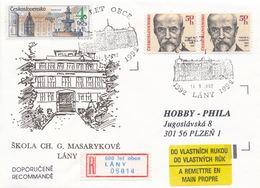 I0448 - Tchécoslovaquie (1992) Lany: 600 Ans D'école De Village (R-label Occasionnel!) Ch. G. Masaryk - Châteaux