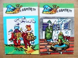 2 Small Calendar 1989 Lithuania Cartoon To Nature Fishing Fish Tourists Animal Snail - Calendriers