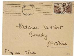 TP N° 467 Seul  Sur Enveloppe De Grenoble Pour Bonabry - Marcophily (detached Stamps)
