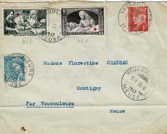 TP N° 459 Et 460 Avec Compléments Sur Enveloppe De Vaucouleurs Pour Montigny - Marcophily (detached Stamps)