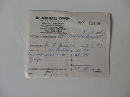 Facture Du Docteur Mickael Owen 45, Oxford Street Bondi Junction 2022 Australia. - Australia
