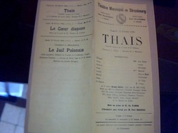 PROGRAMME THEATRE  MUNICIPAL DE  STRASBOUG PIECE THEATRALE THAIS Annèe 1923 /2 PAGES - Programmes