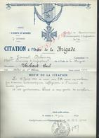 MILITARIA ARMÉE 7 DvInf 40 BRIGADE LE CITATION À L ORDRE BRIGADE GÉNÉRAL DEBENEY 238e A THIEBAUT PAUL FM - 1939-45