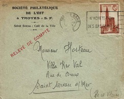 TP N° 448 Seul Sur Enveloppe De La Sté Philatélique De Troyes Pour St Servan - 1921-1960: Période Moderne
