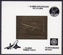 Guinea Equat. 1980, Concorde, Overp. 10th Man On The Moon, Rotary, BF GOLD IMPERFORATED - Space