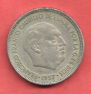 5 Pesetas , ESPAGNE , Cupro-Nickel , 1957 ( 58 ) , N° KM # 786 , N° Y118 - 5 Pesetas