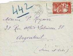 TP N° 442 Seul Sur Enveloppe De La Reims Principal  Pour Argenteuil - 1921-1960: Période Moderne