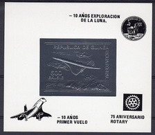 Guinea Equat. 1980, Concorde, Overp. 10th Man On The Moon, Rotary, BF SILVER IMPERFORATED - Space