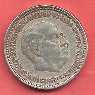 5 Pesetas , ESPAGNE , Cupro-Nickel , 1957 ( 60 ) , N° KM # 786 , N° Y118 - 5 Pesetas