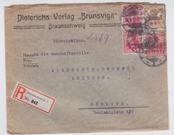 EINSCHREIBEN BRIEF BRAUNSCHWEIG BRUNSWICK DIETERICHS VERLAG BRUNSVIGA ZEITUNG GÖRLITZ 19.03.1917 - Allemagne