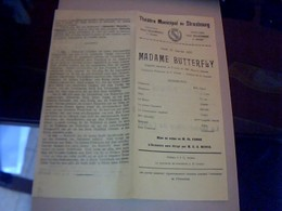 PROGRAMME THEATRE  MUNICIPAL DE  STRASBOUG PIECE THEATRALE MME BUTTERFLY  Annèe 1923 /2 PAGES - Programmes