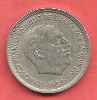 5 Pesetas , ESPAGNE , Cupro-Nickel , 1957 ( 75 ) , N° KM # 786 , N° Y118 - 5 Pesetas