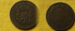 Luxembourg   10 Centimes 1860  -type 2- Km#23.2    Guillaume III    Bronze - Luxembourg