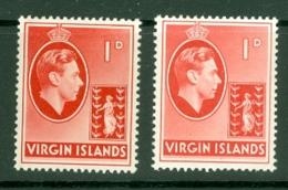 British Virgin Is: 1938/47   KGVI   SG111 / 111a   1d  [Chalk And Ordinary]  MH - British Virgin Islands